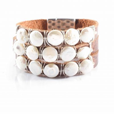 Pearls on leather cuff bracelet