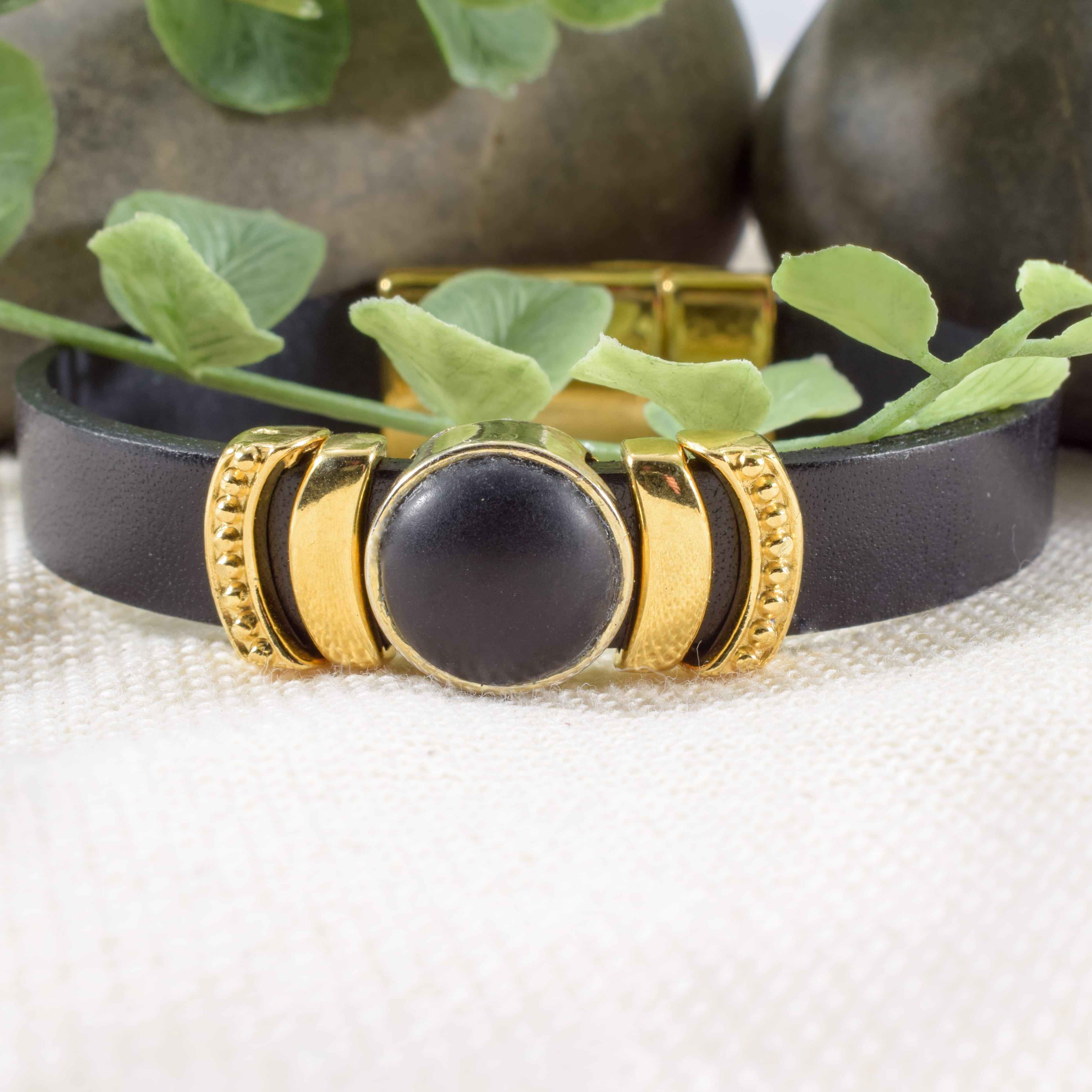 Black Leather and Gold Beaded Bracelet