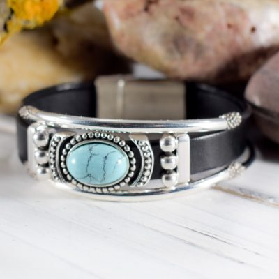 black leather turquoise silver